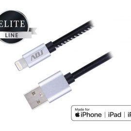 CAVO USB 2.0 LIGHTNING 1.0MT MFI BK RIVEST.PELLE/CONN.METALLO ADJ
