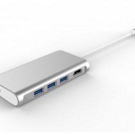 HUB LMP USB-C A HDMI-USB-USB-C SILV ER 5 PORTE
