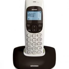 TELEFONO CORDLESS BRONDI NICE BICOLORE NERO/BIAN RUBRICA/ID CALL